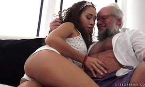 Young latin babe on much aged schlong