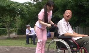 Subtitled extraordinary japanese half exposed caregiver outdoors