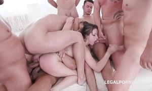10 on 1 gang group sex for ultra wench gabriella lati 10 swallows!