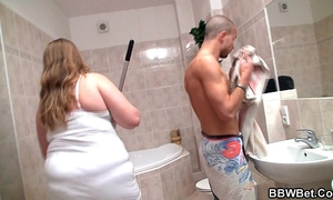 Big abdomen girlfriend is group-fucked in the washroom
