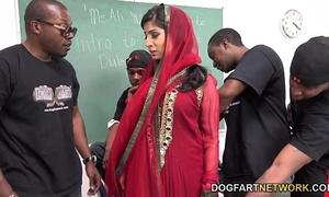 Nadia ali learns to handle a bunch of dark weenies
