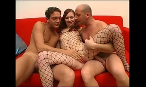 Threesome for this juvenile wench in a fishnet