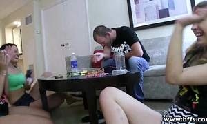 Bffs - legal age teenager addicts on a three-some sex party