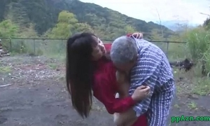 Asian wife getting her twat licked and drilled by old guy cum to arse outdoor at