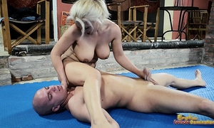 Nude mixed wrestling fight with a tugjob