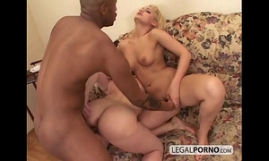 Two hawt blondes play in the shower and then acquire drilled by a dark schlong sb-2-04