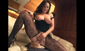 Cunnilingus with a breasty sweetheart in crotchless nylon
