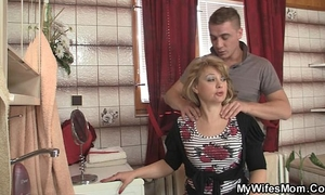 Mother-in-law jumps at his large schlong as his black cock sluts leaves