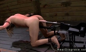 Bent over and bound blond coarse screwed