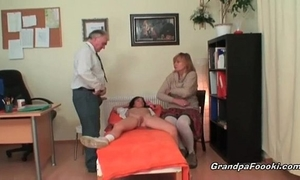 Granny and sweetheart are engulfing knob