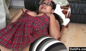 Asian schoolgirl showing fur pie