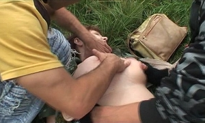 Two criminals ambushe a dirty slut wife for fuck!