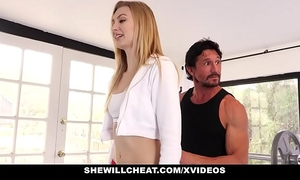 Shewillcheat- golden-haired Married slut copulates tutor in front of spouse