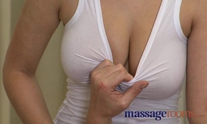 Massage rooms sexy breasty therapist gives him go...