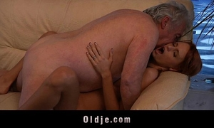 Grandpa fortunate to fuck a hot youthful redhead chick