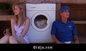 Oldman receives to fuck a lewd teeny