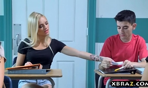 Busty milf teacher receives with legal age teenager pair in her classroom