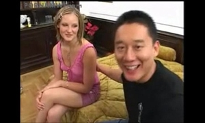 Asian dude and blond european immodest wench uninspired white wench
