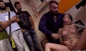 Euro babe takes facials in public bar