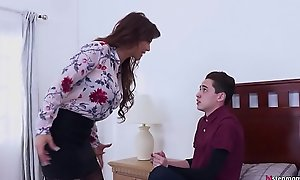 Bossy Stepmom makes her Son fuck her ass! - Syren De Mer