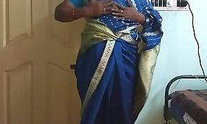 des indian horny skulduggery tamil telugu kannada malayalam hindi wife vanitha wearing blue affect unduly saree  showing big boobs and bald pussy unnerve hard boobs unnerve nip rubbing pussy masturbation