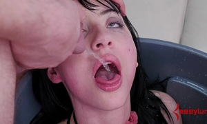 Goth wife fed piddle and booty screwed in the trash