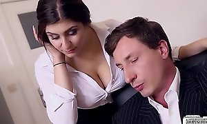 BUMS BUERO - King bonks bosomy German secretary and jizzes overhead the brush big tits