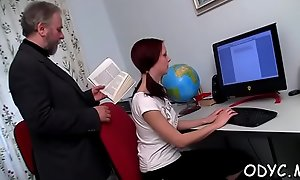 Horny young babe gives an old guy nice blowjob coupled with fucks