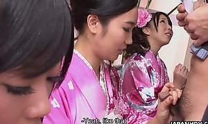 Four geishas engulfing out of reach of duo lonely cock